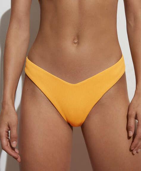 High-rise V-cut piqué Brazilian bikini briefs