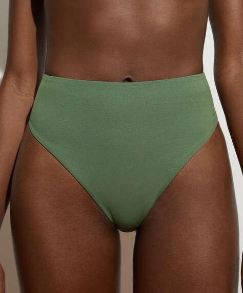 Hoog bikinibroekje van gerecyclede stof met textuur