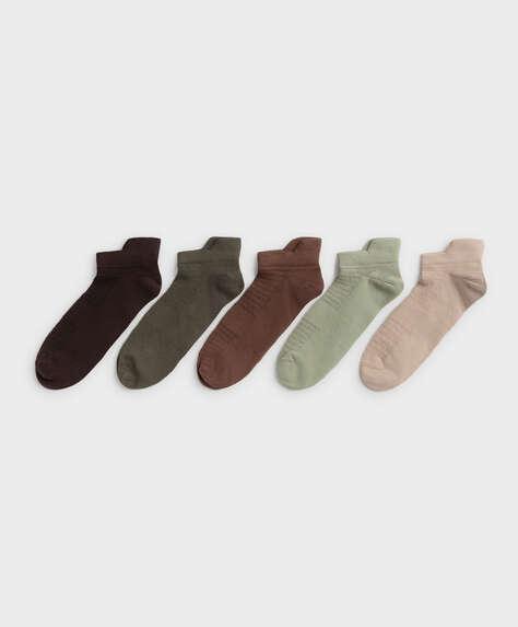 5 pares de calcetines tobilleros algodón deportivos