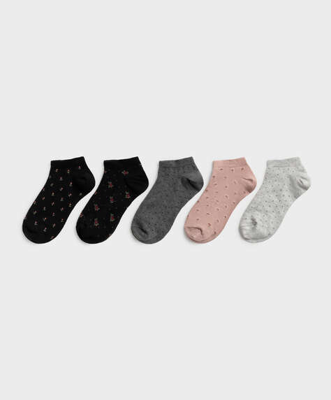 5 pairs of fancy cotton ankle socks