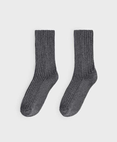 Medium ribbed wool and cashmere socks