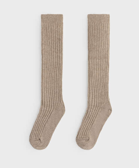 Knee-high ribbed wool and cashmere socks