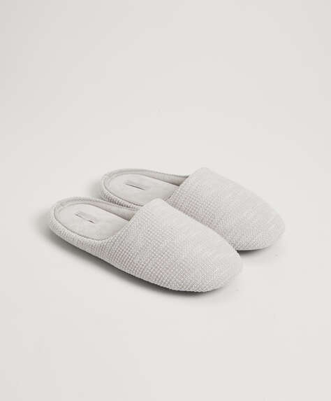 Basic flecked fabric slippers