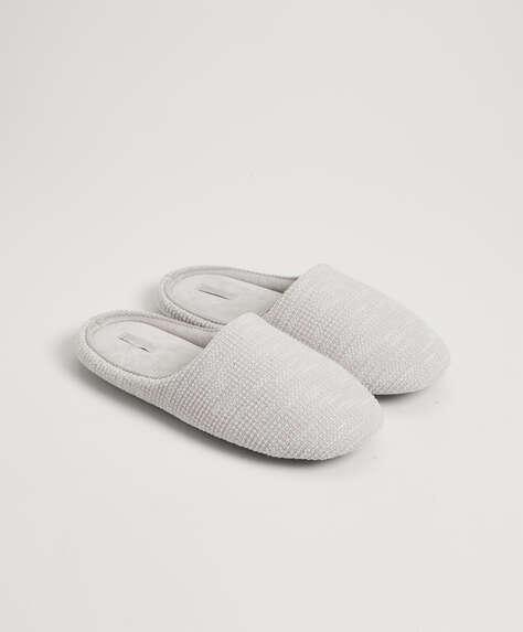 Basic flecked fabric slippers