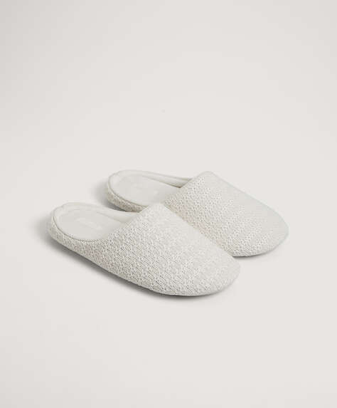 Basic stripe pattern slippers