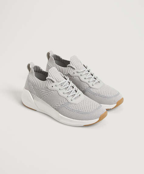 Lace-up trainers with translucent detail