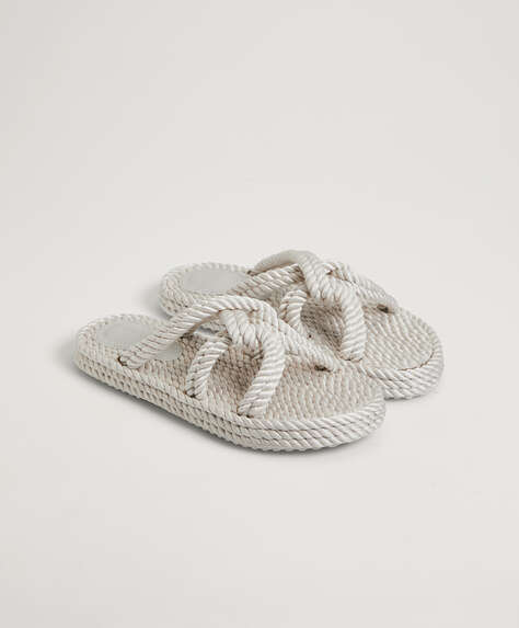 Rope fabric sandals