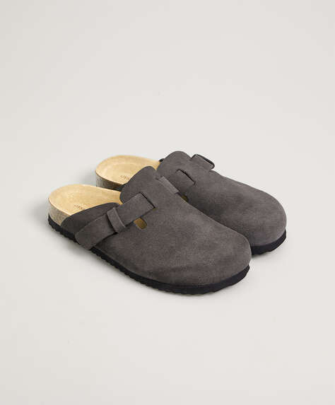 Split-leather slider slippers