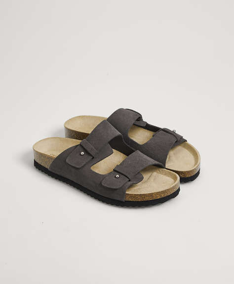 Split-leather slider sandals