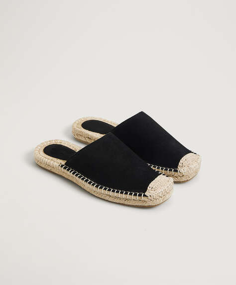 Split-leather undercut espadrilles