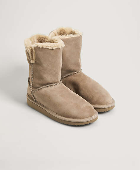 Split-leather faux-fur boots