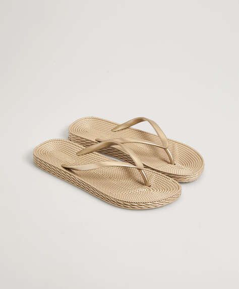 Gold textured beach sandals