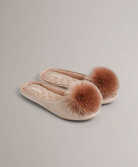Pink satin pompom slippers
