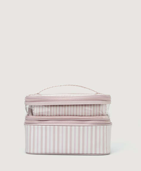 Contrast toiletry bag with little stripes