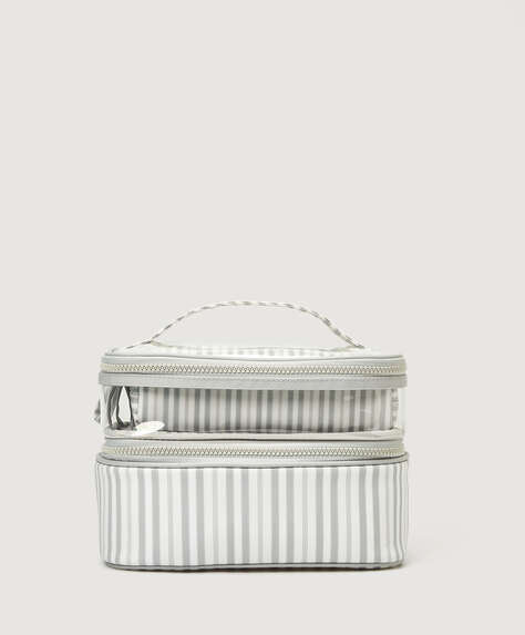 Striped wash bag set