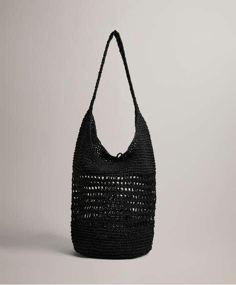 Openwork hobo bag