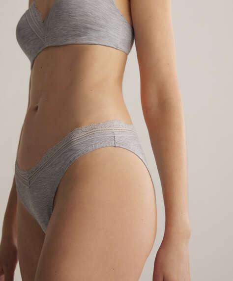 Modal and lace V-cut classic briefs