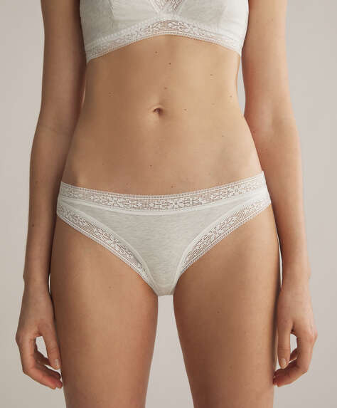 Lace trim cotton classic briefs