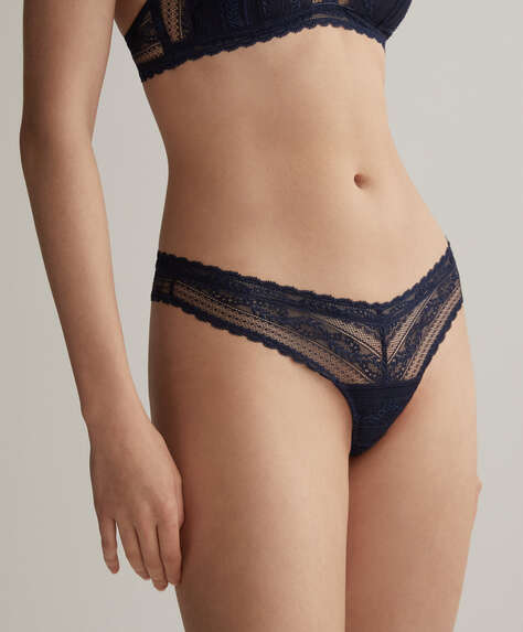 Soft floral lace V-cut tanga briefs