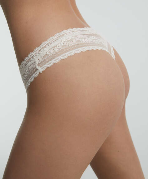 Floral soft lace V-cut tanga briefs