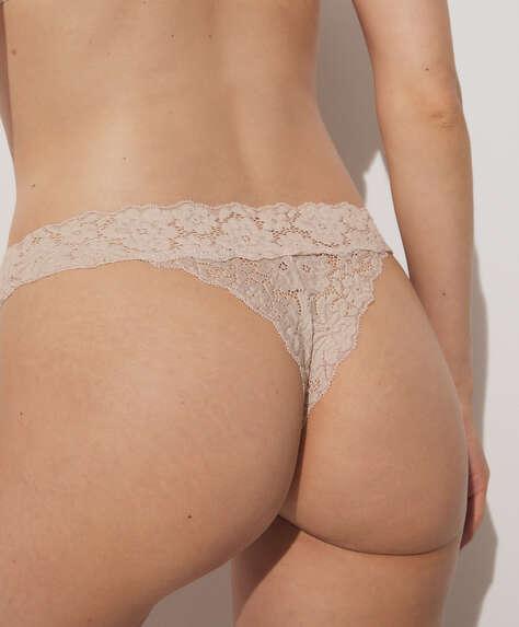 Colourful lace V-cut thong