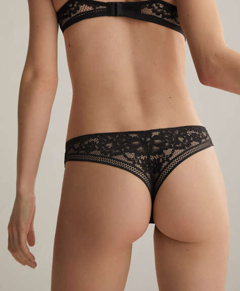 Lace V-cut thong