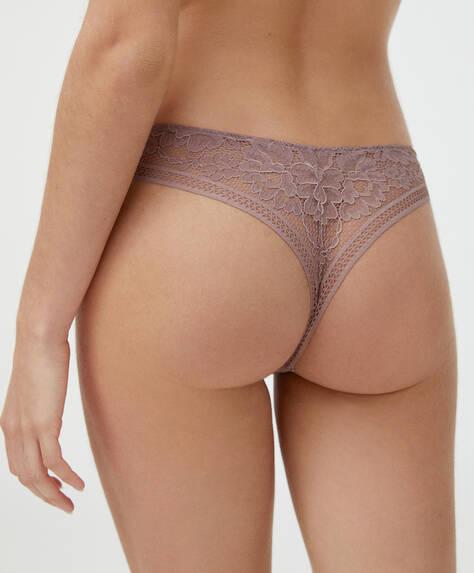 Lace V-cut thong