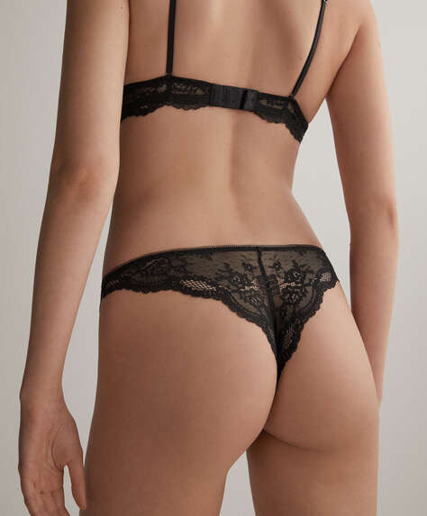 Rose detail lace Brazilian briefs