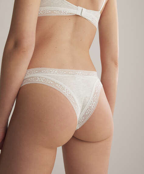 Lace trim cotton Brazilian briefs