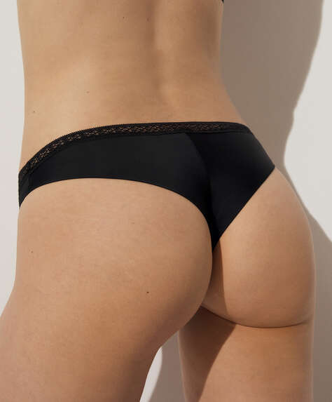 Lace trim microfibre Brazilian briefs