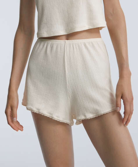 Cutwork cotton shorts with lace trim