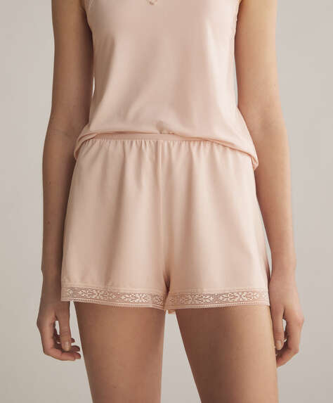 Lace trim modal shorts