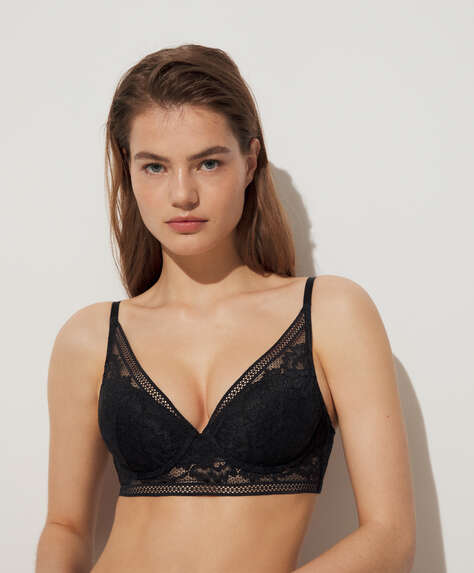 Floral lace bra with removable push-up padding