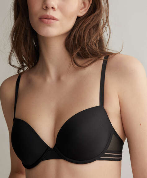 Lightly-padded microfibre bra