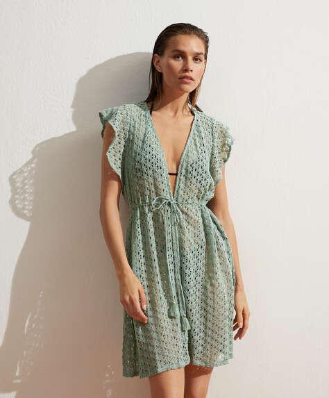 Ruffle cotton crochet tunic
