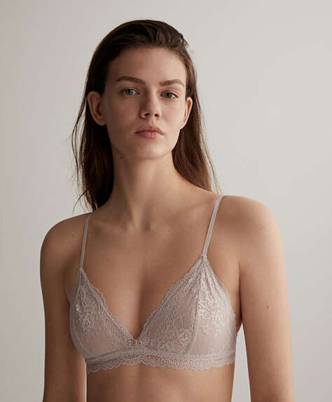Rose detail lace triangle bra