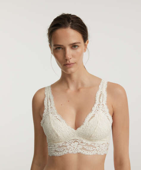 Halter-style bralette with removable cups