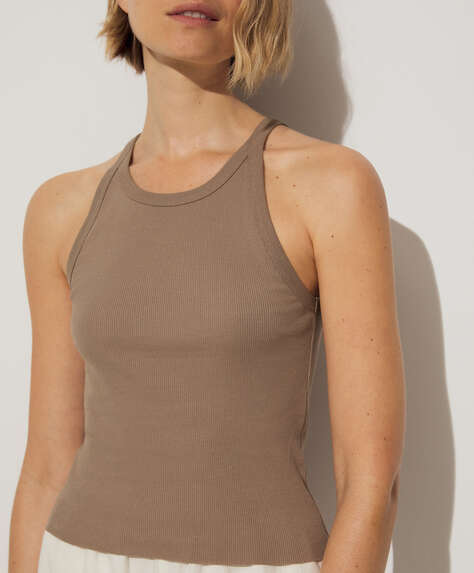 Cotton rib vest top