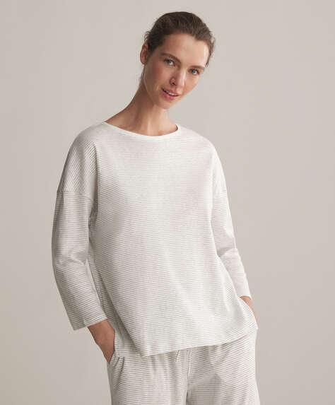 T-shirt avec coton biologique à mini rayures