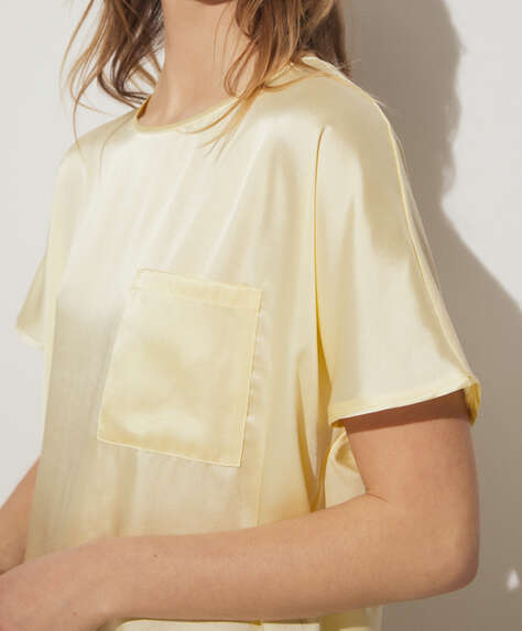 Yellow two-material T-shirt