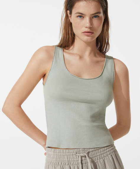 Organic cotton sleeveless vest top