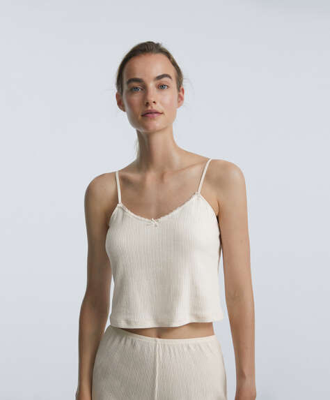 Cutwork cotton top with lace trim