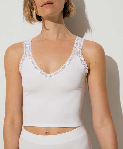 Seamless strappy lace-trim top