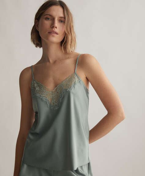 Lace satin top