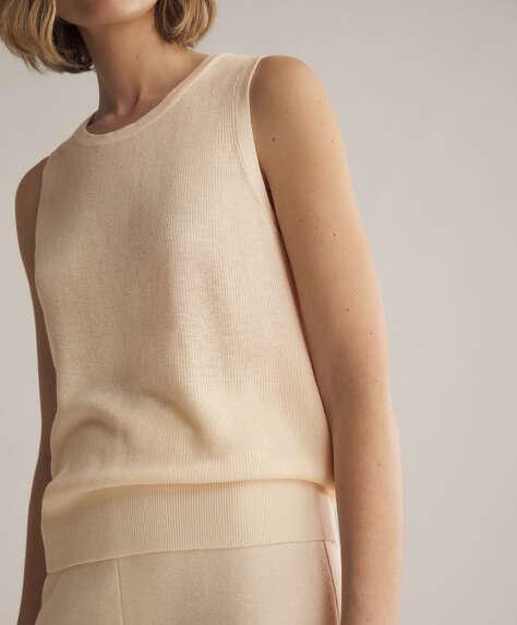 Jersey sin mangas de punto, algodón y lino