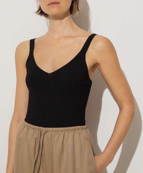 Rib knit strappy top