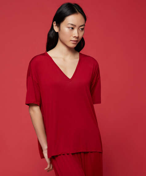T-shirt en modal rouge