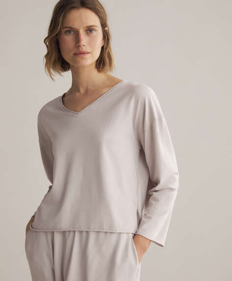Long-sleeved cotton relax T-shirt