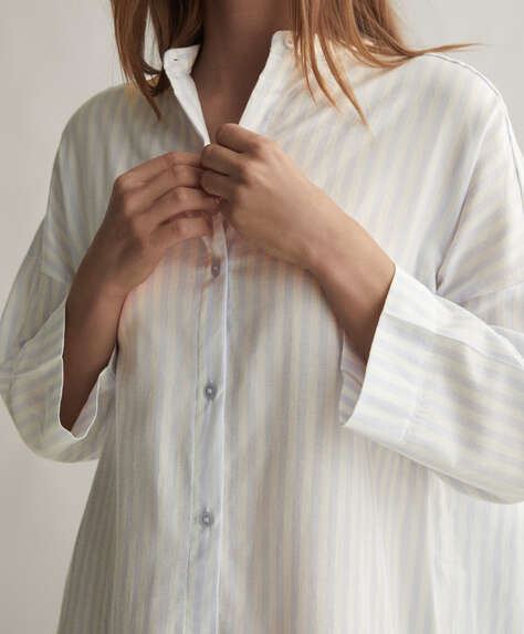 Blue stripe 100% cotton nightdress