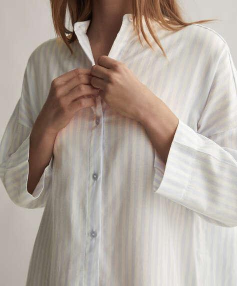 Camicia da notte 100% cotone righe blu